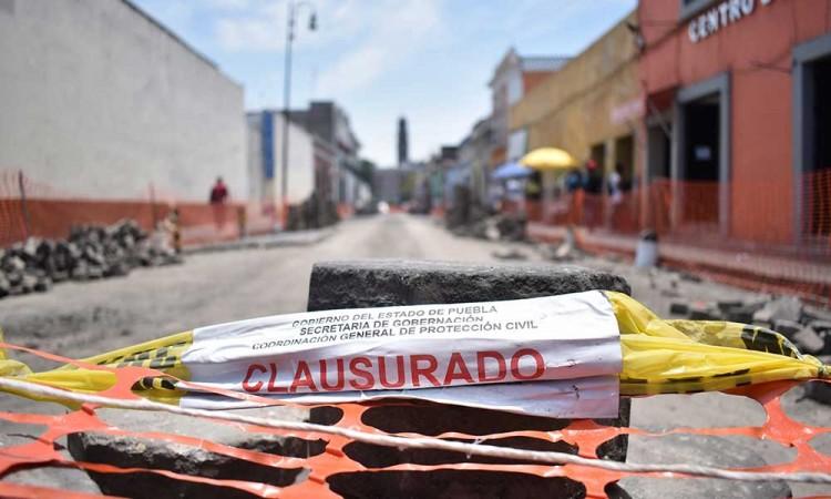 Sin fecha para que se realice el trámite de permisos de las obras clausuradas en el Centro Histórico de Puebla