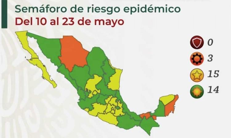 Así luce el semáforo de covid del 10 al 23 de mayo en México