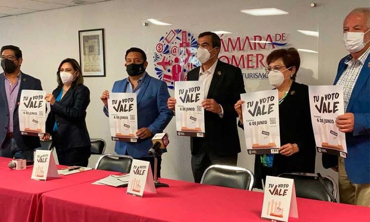 """CANACO Puebla presenta la campaña """"Tu voto vale"""", que tiene como fin promover el voto"""