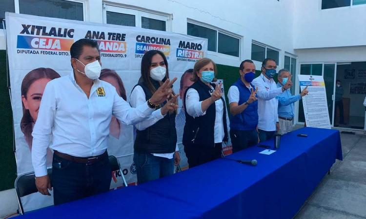 """""""Huele a triunfo"""", aseguran candidatos de Va Por México a diputados federales en Puebla"""