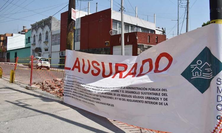 Obras del Centro Histórico de Puebla detenidas por falta de permisos