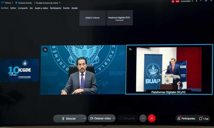 Rector Buap presenció de manera virtual el Segundo Informe del director del ICGDE