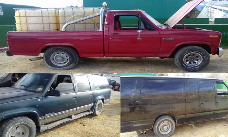 Aseguran camionetas con hidrocarburo robado