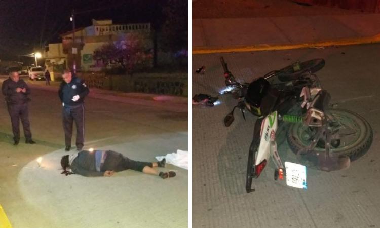 Por exceso de velocidad, se mata en su moto