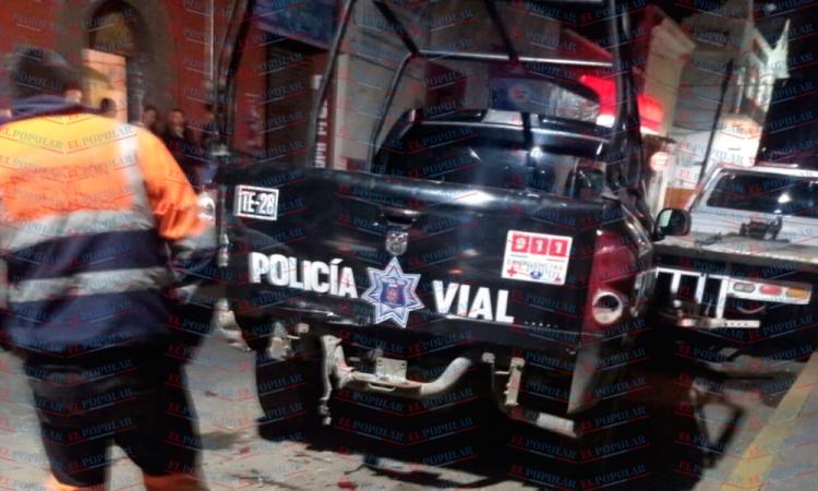 Por falla mecánica, choca patrulla en Puebla-Tehuacán