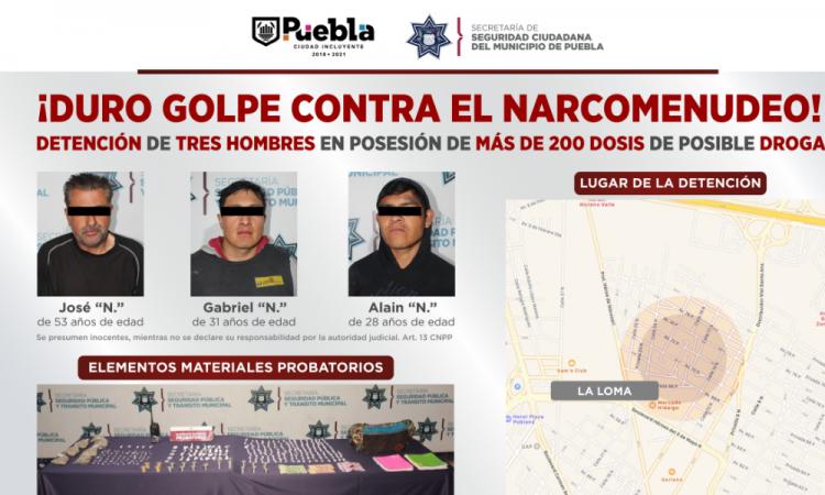 Aseguran a tres hombres por narcomenudeo en la colonia La Loma