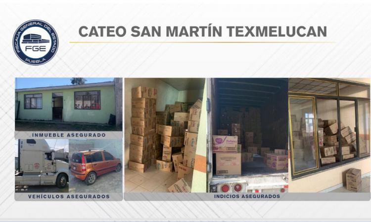 Recuperan tractocamión y mercancía robada en San Martín Texmelucan