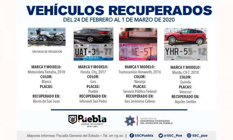 Policía Municipal recupera vehículos con reporte de robo
