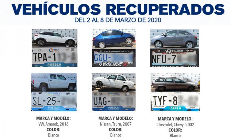 La SSC recupera seis automóviles con reporte de robo