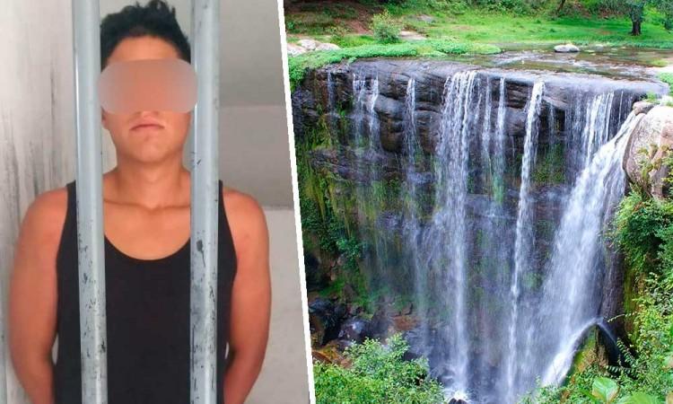 Turistas golpean a policías por desalojarlos de Cascada San Pedro