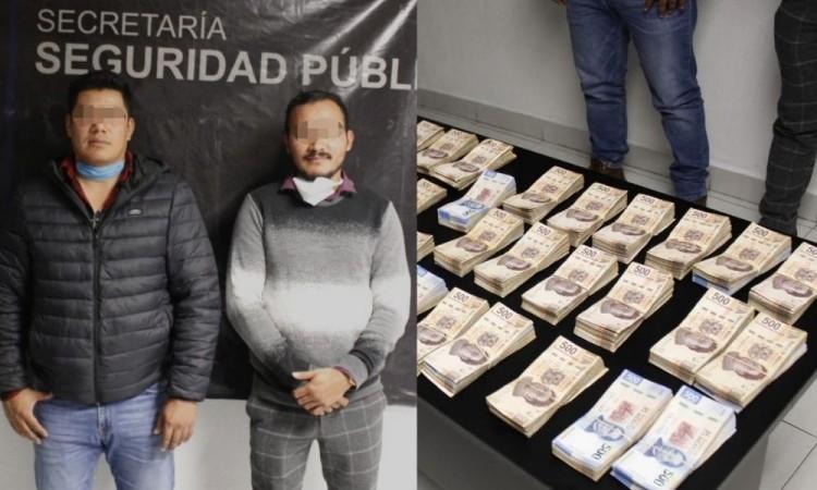Dos hombres fueron detenidos en Palmar de Bravo con más de 3 mdp en efectivo
