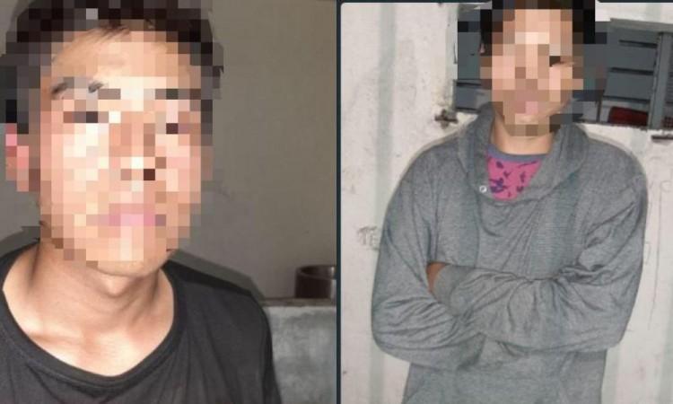 Policía de Amozoc detiene a dos sujetos acusados de robo a negocio