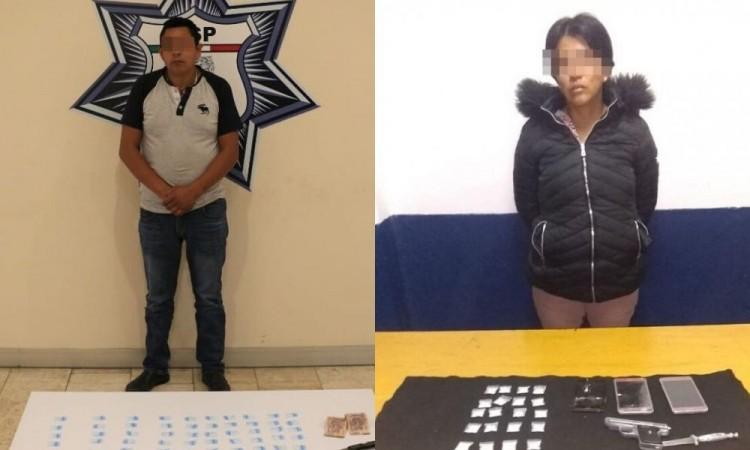 Detenidos con drogas y armas aseguradas en Chignahuapan