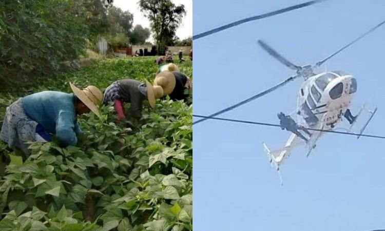 Campesinos son amedrentados por helicóptero de la Guardia Nacional