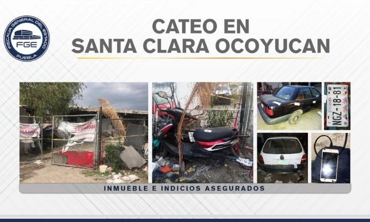 Catean inmuebles en Ocoyucan y aseguran varios vehículos