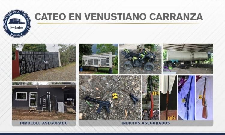 Aseguran armas y unidades durante cateo en Venustiano Carranza