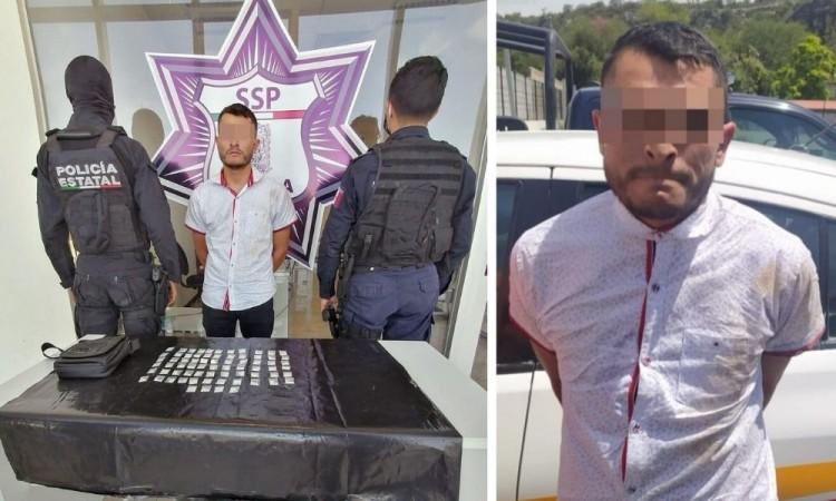 Efectivos estatales y municipales aseguran a presunto narcomenudista en Tehuacán