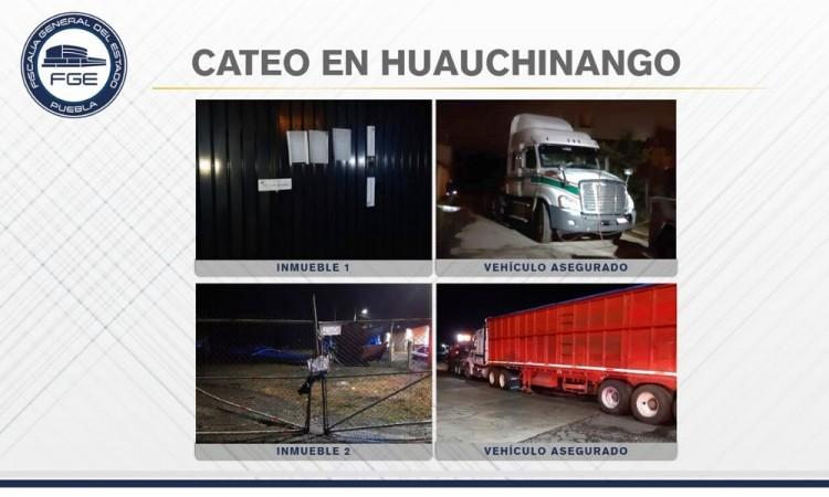 Fiscalía catea inmuebles en Huauchinango; recupera tractocamión