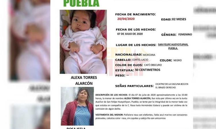 ¡Ayúdanos a encontrarla! Alexa Torres, de 2 meses, está desaparecida