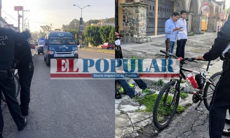 Ciclista lesionado por choque con transporte público