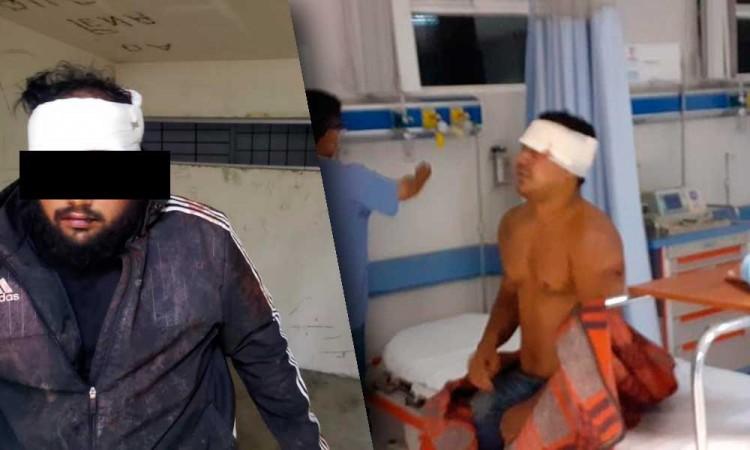En Amozoc casi se repite un linchamiento; dos sujetos reciben brutal golpiza