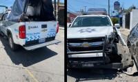 Patrulla de la Policía Auxiliar choca en la colonia Amor;  hay otros vehículos involucrados