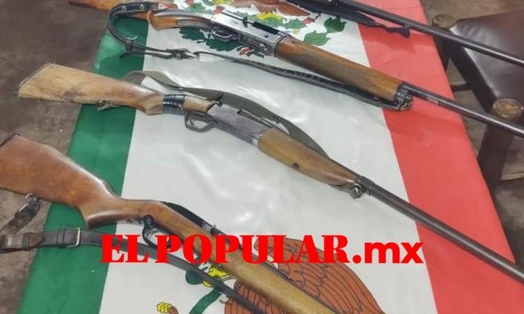 Aseguran armas en San Francisco Jalapexco