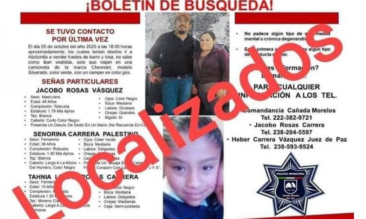 Localizan a los tres integrantes de una familia originaria de Cañada de Morelos que fueron reportados como desaparecidos