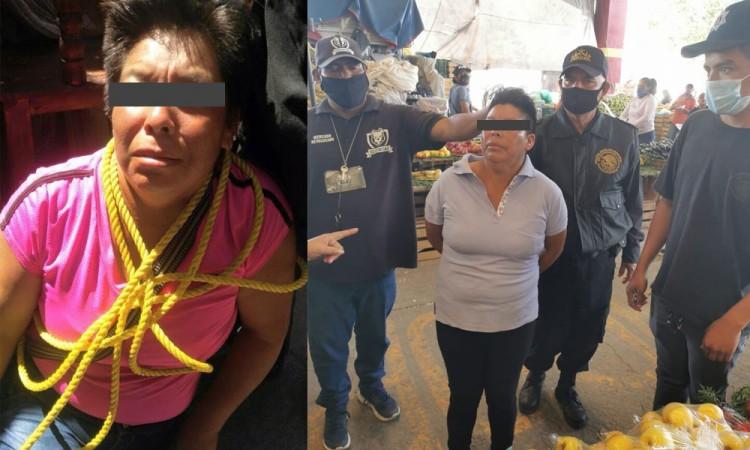 Detienen a mujer por robo en el mercado de Izúcar de Matamoros