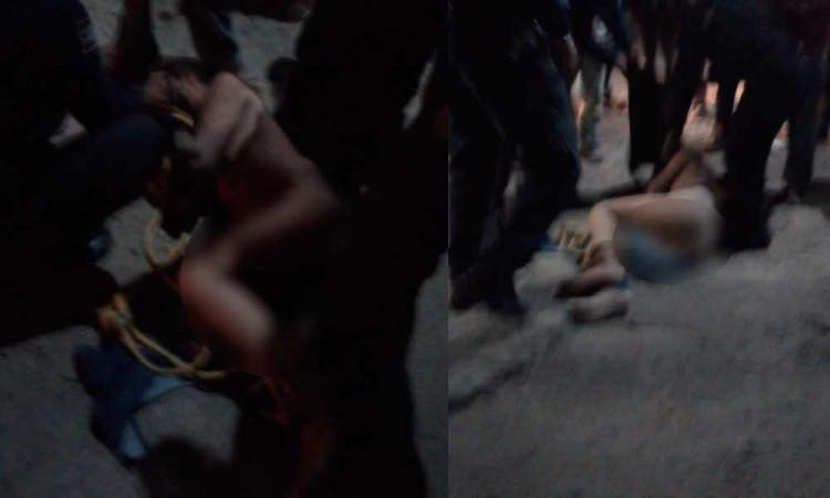 """Lo amarran """"como cochino"""" por robar en Ocoyucan; policías lo rescatan de ser linchado"""