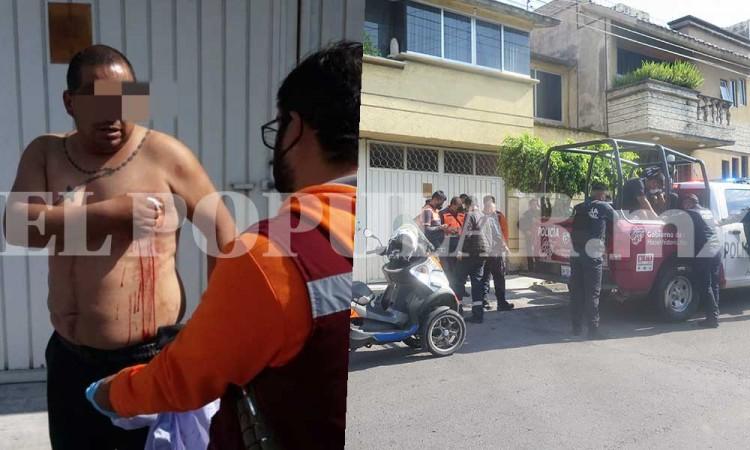 Vecino termina con una herida de daga al detener a ladrón en Puebla