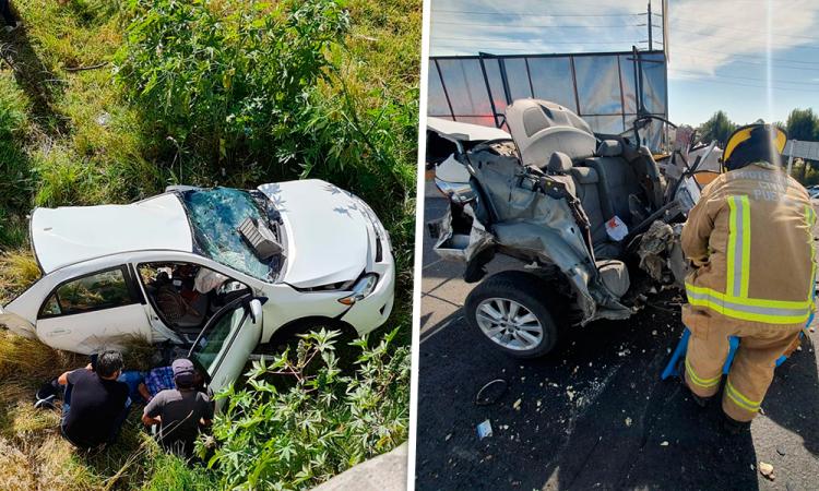 Choque deja una mujer muerta, otra herida y vehículo partido a la mitad