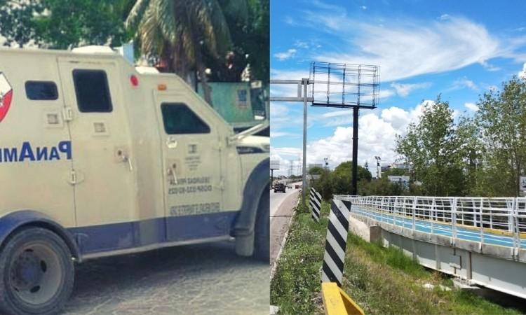 Choca camión de traslado de valores contra el muro de contención del Periférico Ecológico