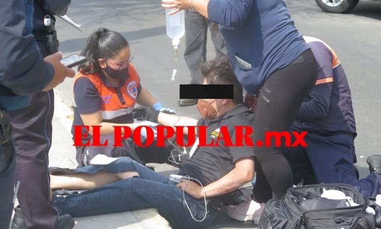 Hombre de la tercera edad resulta herido al ser impactado por moto frente a la presidencia auxiliar de San Baltazar Camp
