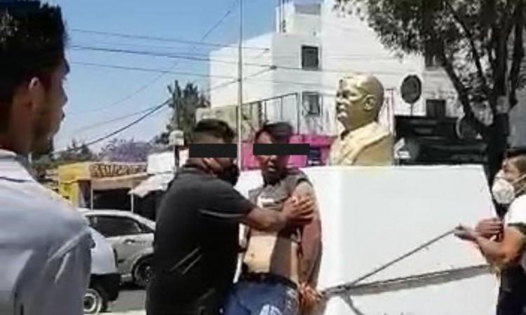 Presunto asaltante detenido, golpeado y amarrado por ciudadanos en unidad habitacional Manuel Rivera Anaya