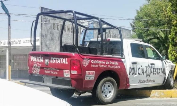 Choca patrulla estatal en Centro de la ciudad de Puebla