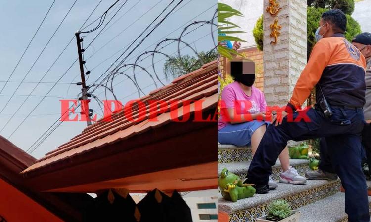 Mujer resulta lesionada al tocar cerca eléctrica en el fraccionamiento Villa Satélite Calera
