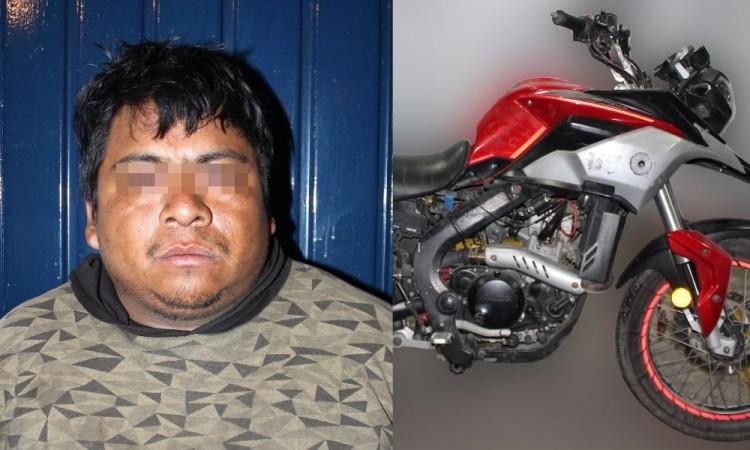 Detienen a sujeto dedicado al robo de motos en la junta auxiliar de San Andrés Azumiatla