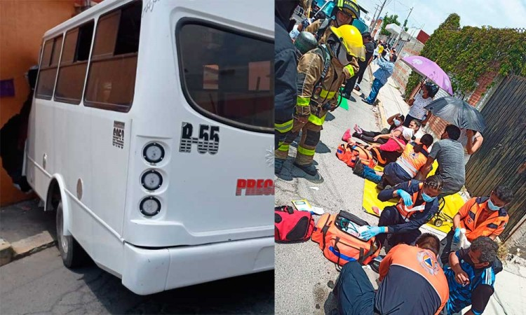 Ruta se impacta contra casa dejando nueve lesionados en la colonia Tres Cruces
