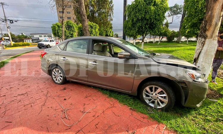 Condcutora estrella su auto contra árbol